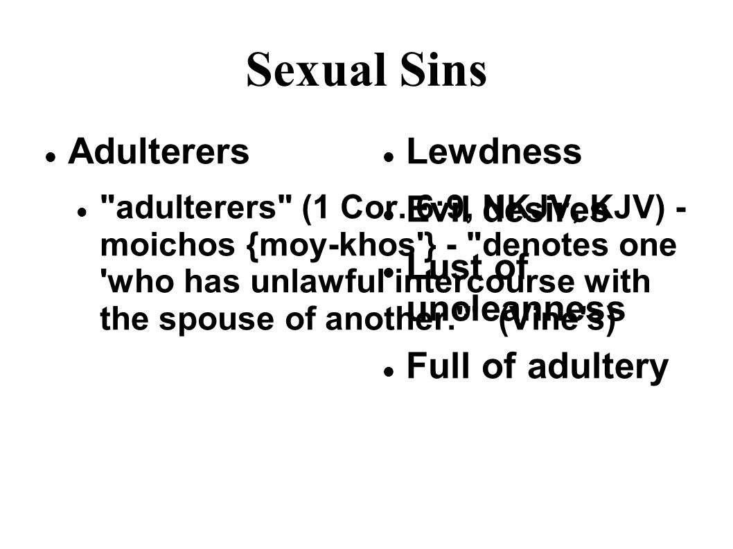 Sexual Sins Adulterers