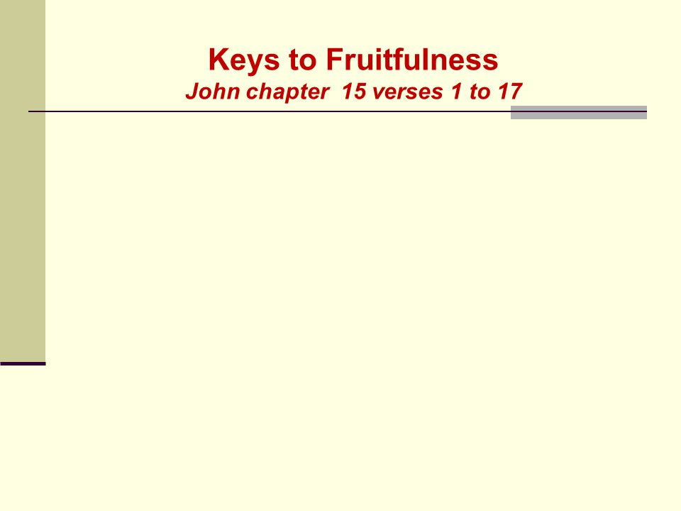 Keys to Fruitfulness John chapter 15 verses 1 to 17