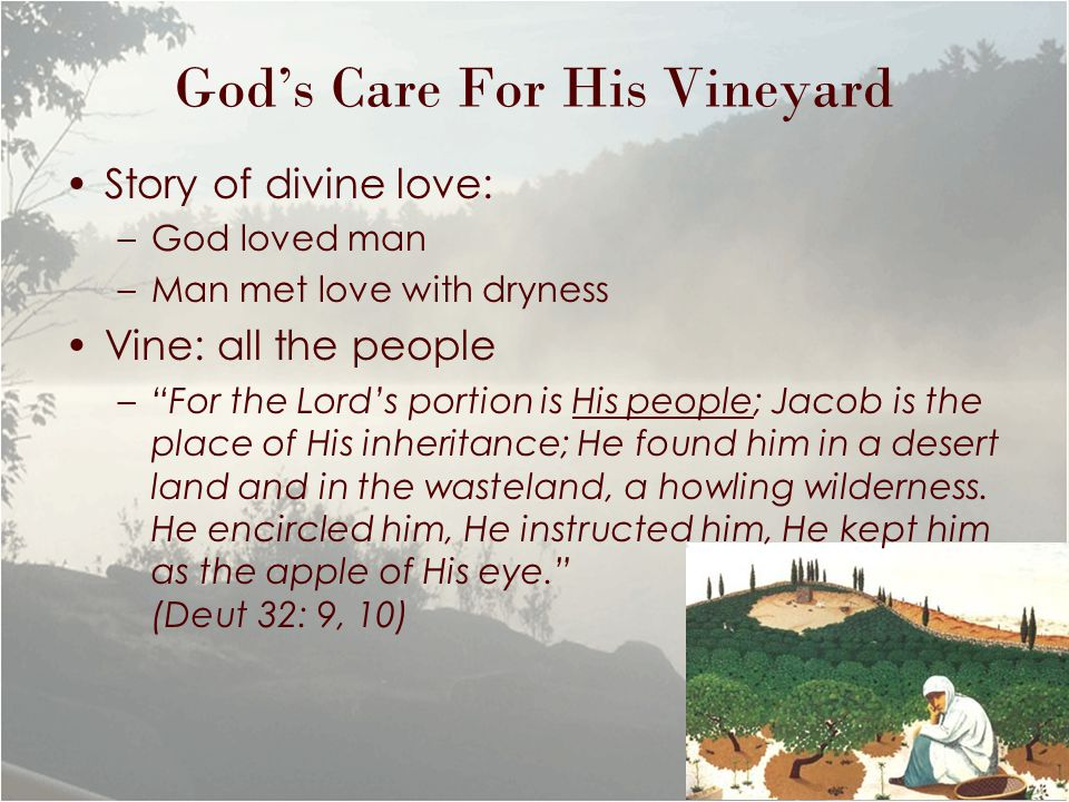 God's Care For His Vineyard Story of divine love: –God loved man –Man met love with dryness Vine: all the people – For the Lord's portion is His people; Jacob is the place of His inheritance; He found him in a desert land and in the wasteland, a howling wilderness.