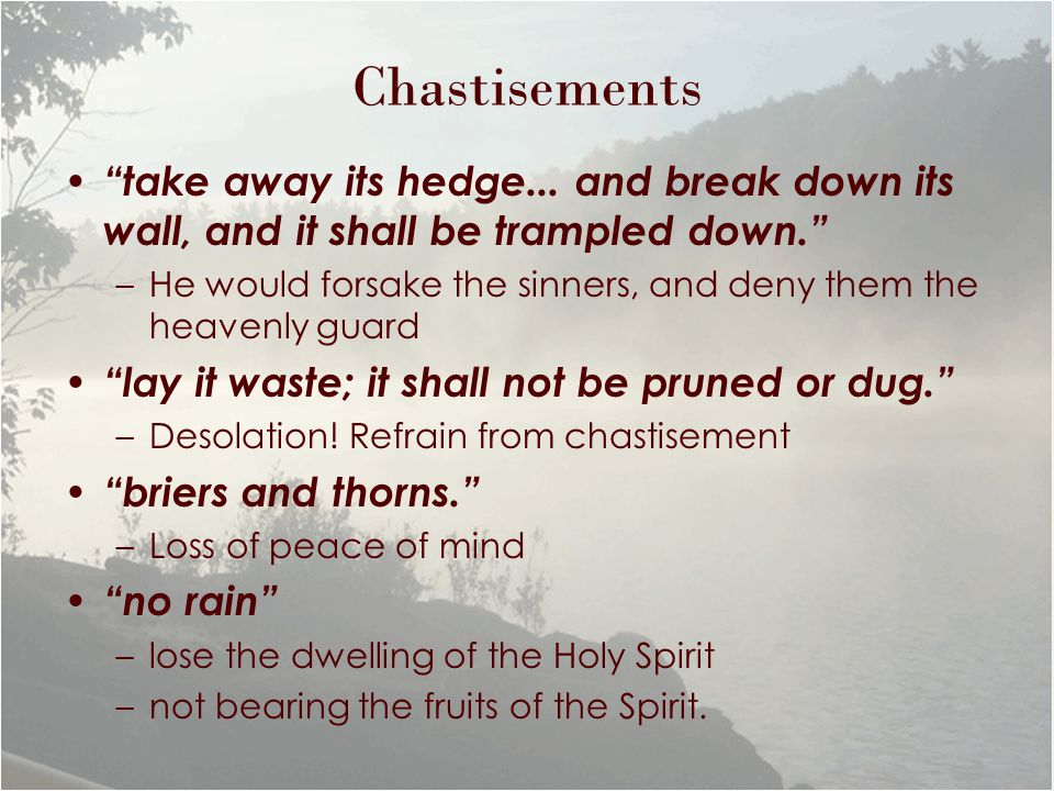 "Chastisements ""take away its hedge... and break down its wall, and it shall be trampled down."" –He would forsake the sinners, and deny them the heaven"
