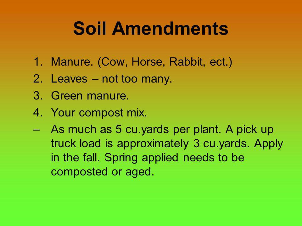 Soil Amendments 1.Manure. (Cow, Horse, Rabbit, ect.) 2.Leaves – not too many.