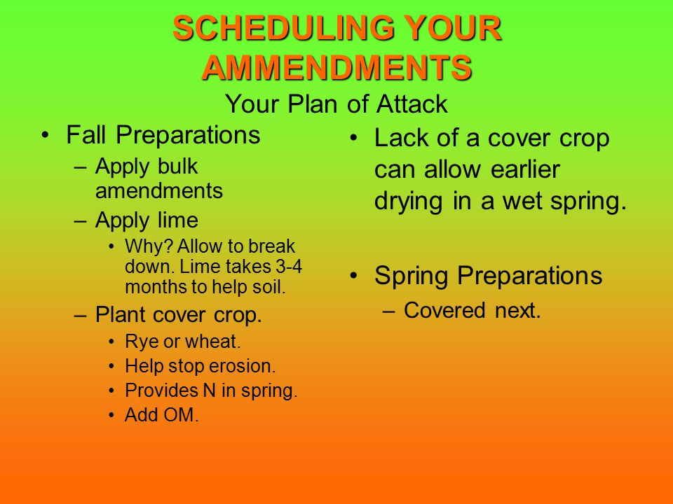 SCHEDULING YOUR AMMENDMENTS SCHEDULING YOUR AMMENDMENTS Your Plan of Attack Fall Preparations –Apply bulk amendments –Apply lime Why.
