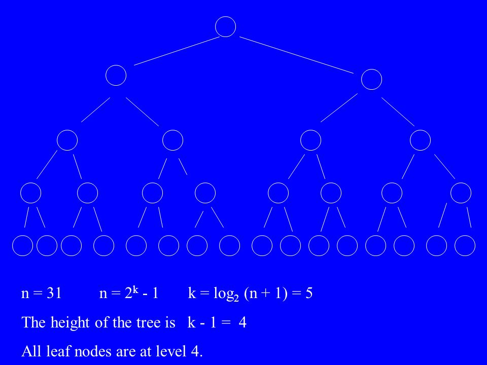 n = 31 n = 2 k - 1 k = log 2 (n + 1) = 5 The height of the tree is k - 1 = 4 All leaf nodes are at level 4.