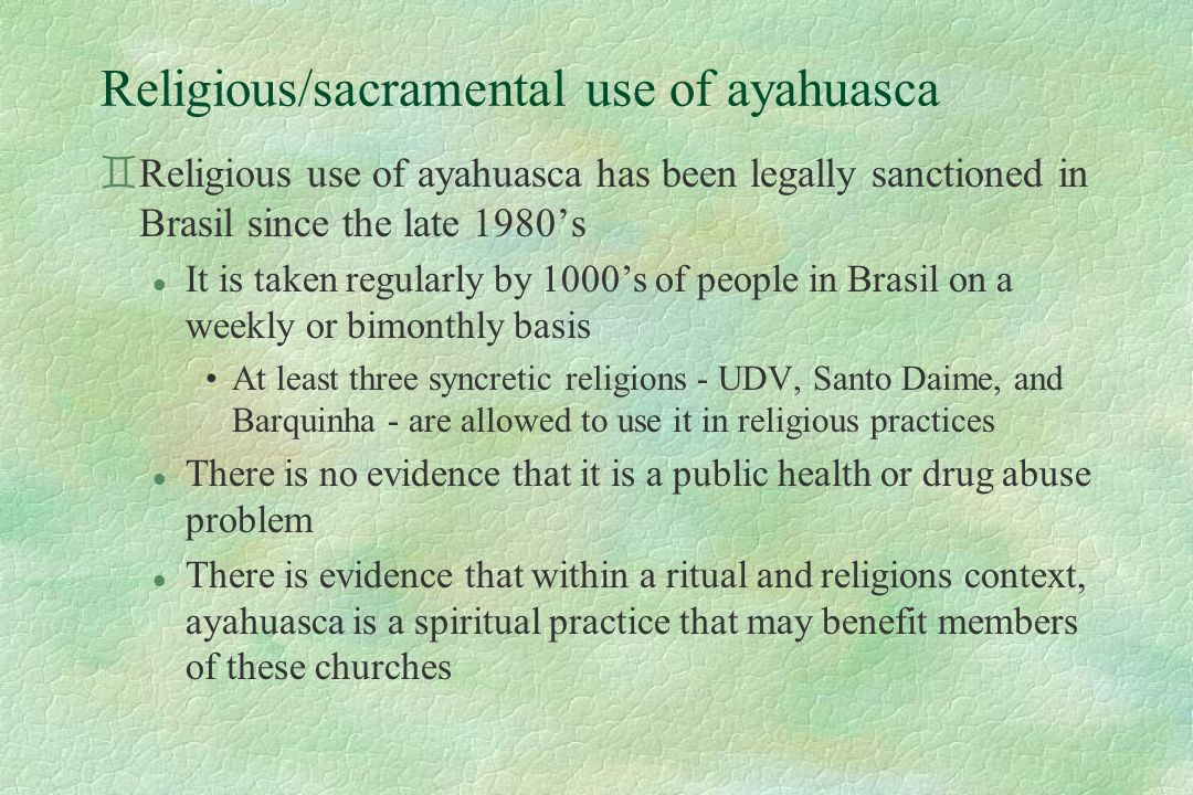 Religious/sacramental use of ayahuasca `Religious use of ayahuasca has been legally sanctioned in Brasil since the late 1980's l It is taken regularly by 1000's of people in Brasil on a weekly or bimonthly basis At least three syncretic religions - UDV, Santo Daime, and Barquinha - are allowed to use it in religious practices l There is no evidence that it is a public health or drug abuse problem l There is evidence that within a ritual and religions context, ayahuasca is a spiritual practice that may benefit members of these churches