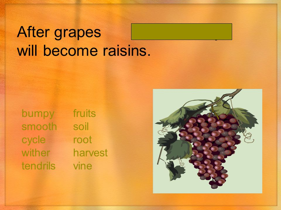After grapes they will become raisins.