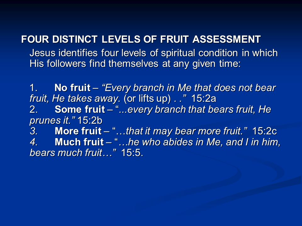 These statements reveal that each believer is either producing no spiritual fruit at all or a clearly defined level of fruit.