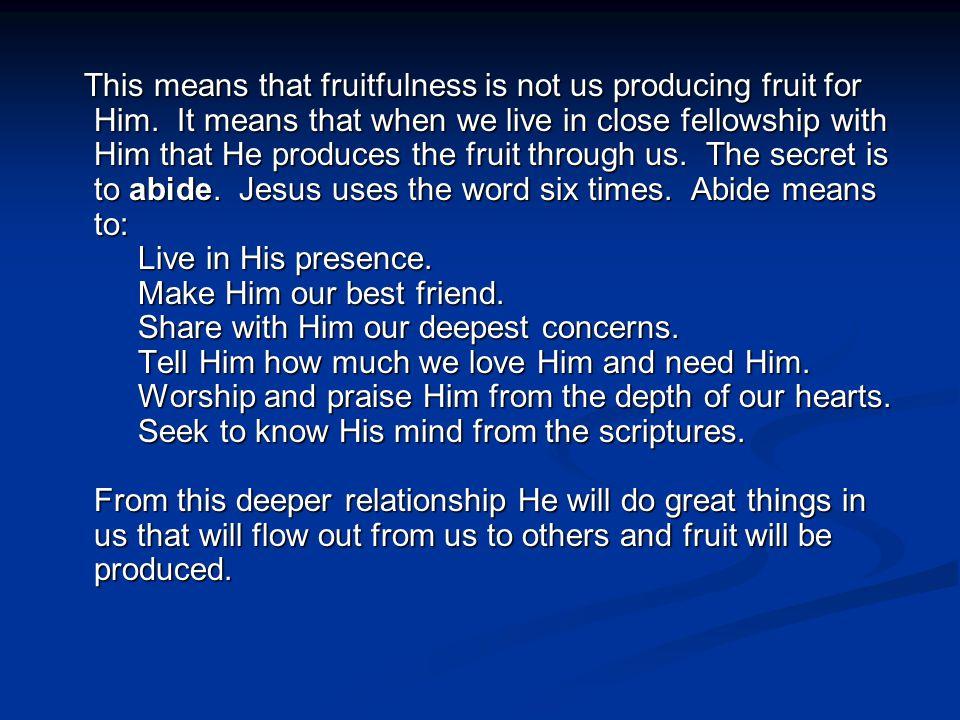 What does an abundantly fruitful Christian look like.