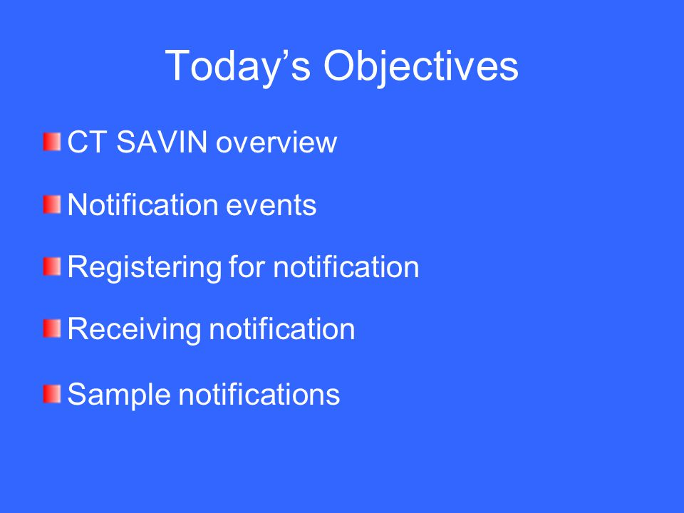 Today's Objectives CT SAVIN overview Notification events Registering for notification Receiving notification Sample notifications