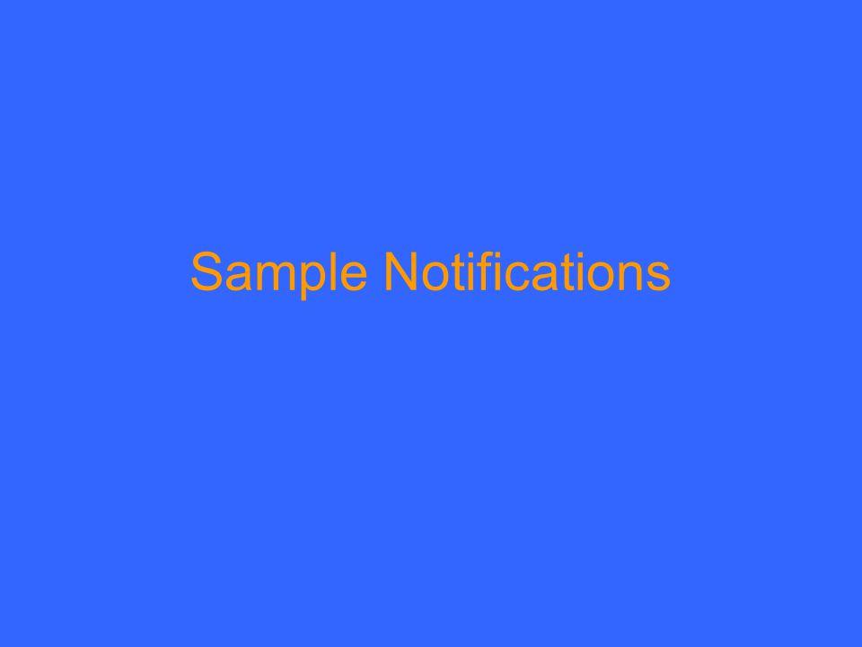 Sample Notifications