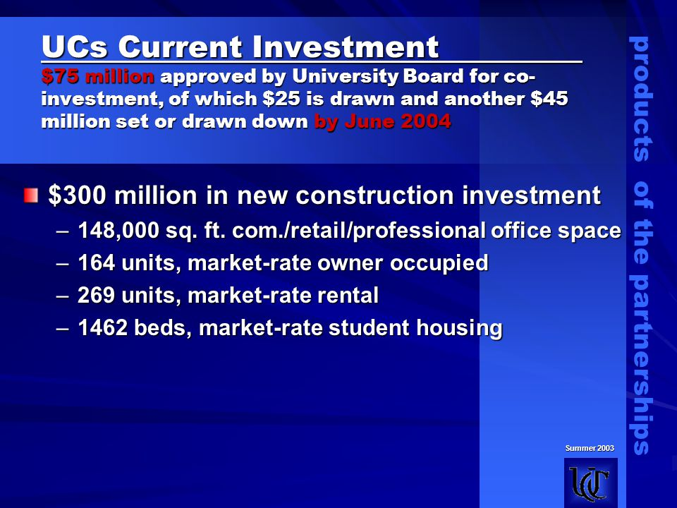 UCs Current Investment $75 million approved by University Board for co- investment, of which $25 is drawn and another $45 million set or drawn down by June 2004 $300 million in new construction investment –148,000 sq.