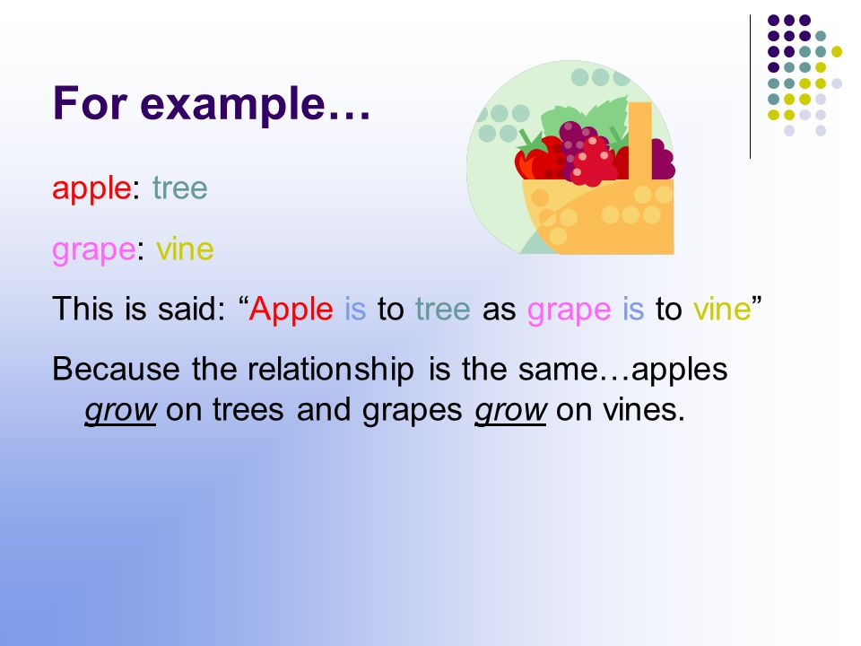 For example… apple: tree grape: vine This is said: Apple is to tree as grape is to vine Because the relationship is the same…apples grow on trees and grapes grow on vines.