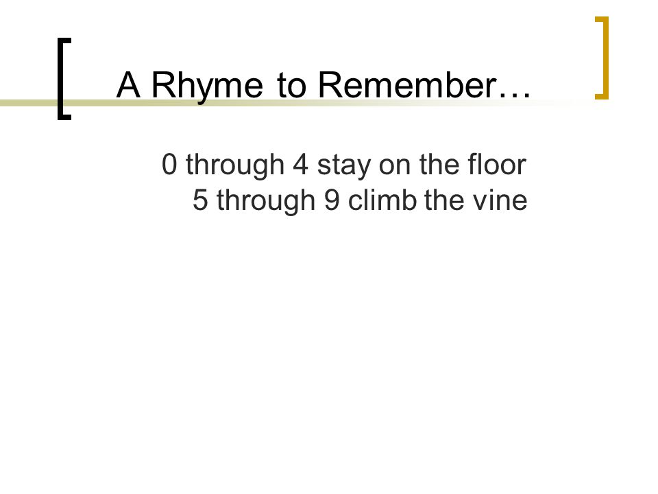A Rhyme to Remember… 0 through 4 stay on the floor 5 through 9 climb the vine