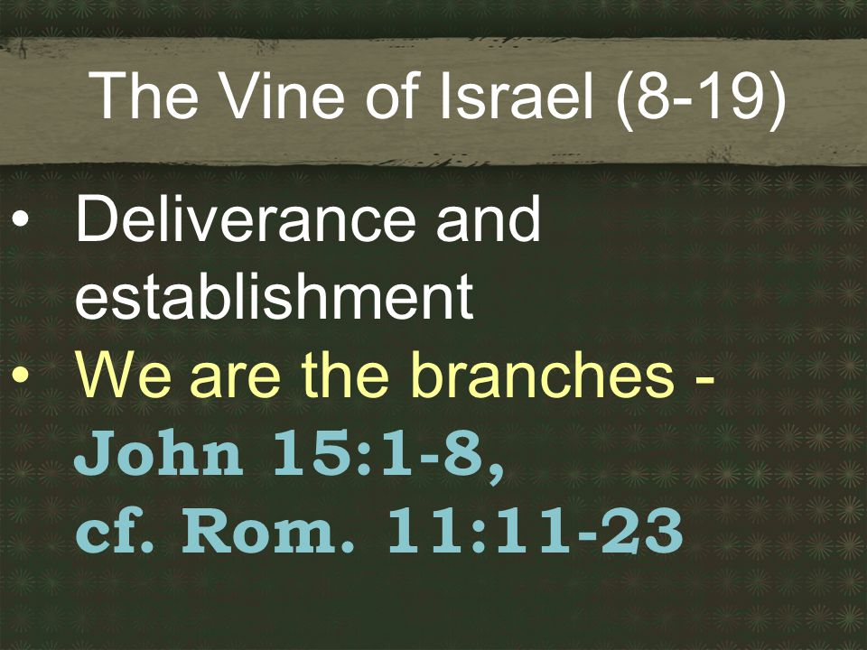 The Vine of Israel (8-19) Deliverance and establishment We are the branches - John 15:1-8, cf.