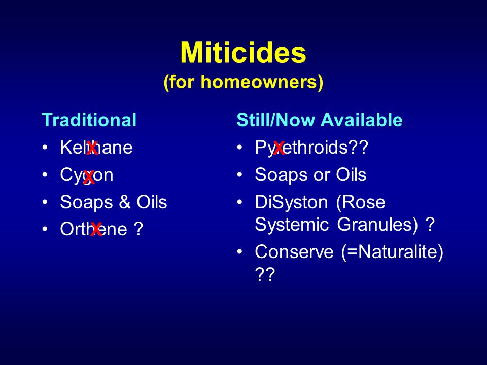 Miticides (for homeowners) Traditional Kelthane Cygon Soaps & Oils Orthene ? Still/Now Available Pyrethroids?? Soaps or Oils DiSyston (Rose Systemic G