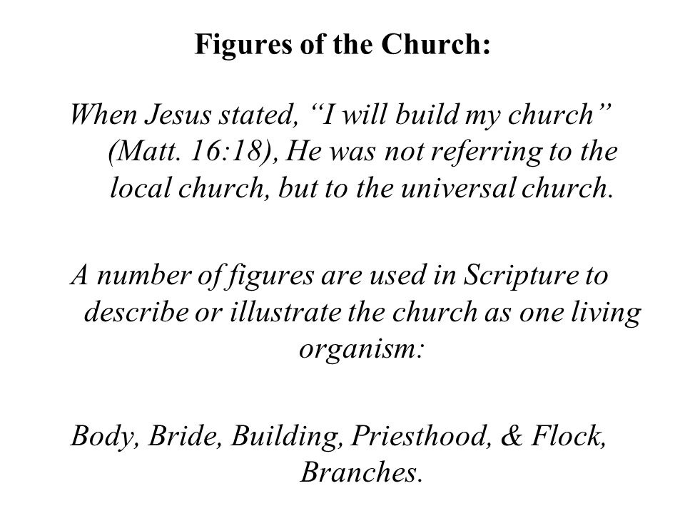 """Figures of the Church: When Jesus stated, """"I will build my church"""" (Matt. 16:18), He was not referring to the local church, but to the universal churc"""