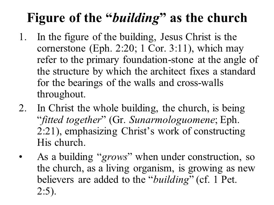 Figure of the building as the church 1.In the figure of the building, Jesus Christ is the cornerstone (Eph.