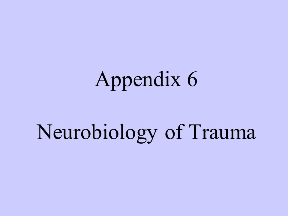 Cortex Sensory Thalamus Amygdala Basic Neurobiology of Trauma