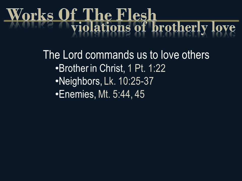 The Lord commands us to love others Brother in Christ, 1 Pt.