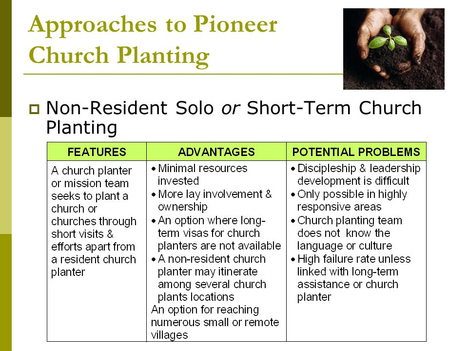 Approaches to Pioneer Church Planting  Non-Resident Solo or Short-Term Church Planting