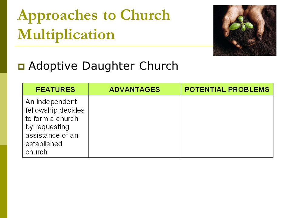 Approaches to Church Multiplication  Adoptive Daughter Church