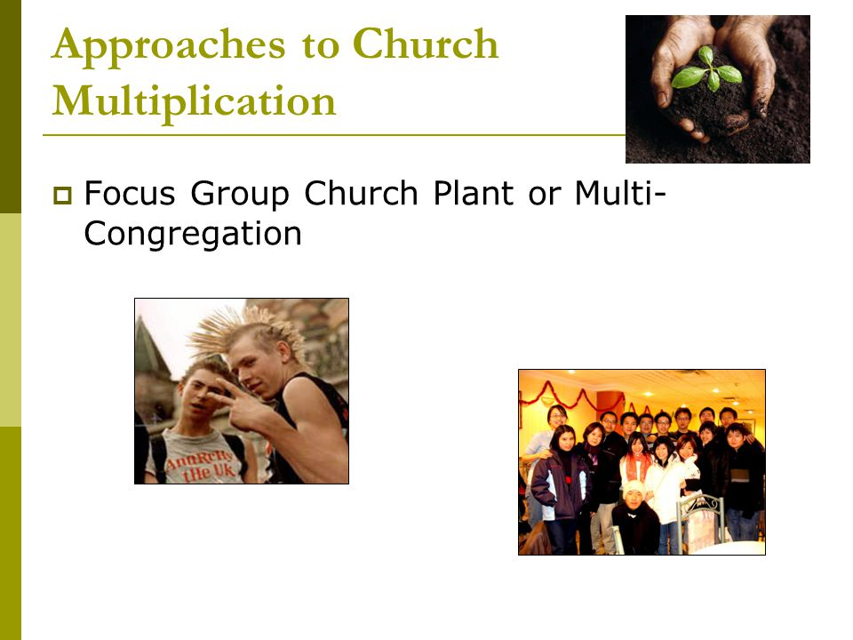 Approaches to Church Multiplication  Focus Group Church Plant or Multi- Congregation