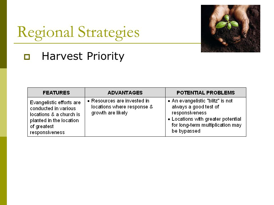  Harvest Priority Regional Strategies