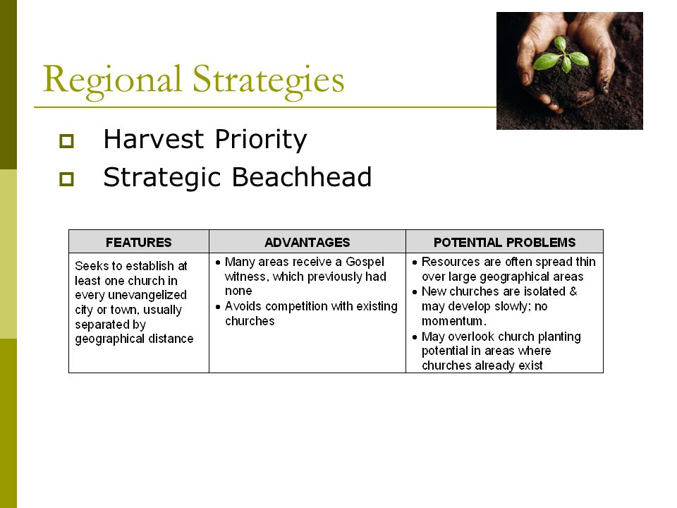  Harvest Priority  Strategic Beachhead Regional Strategies