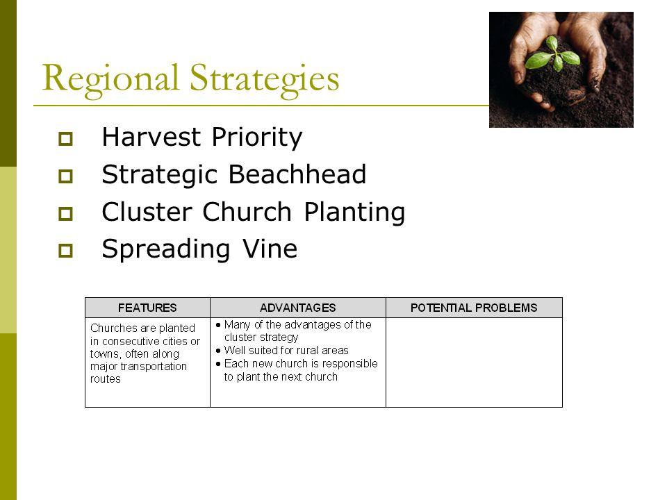  Harvest Priority  Strategic Beachhead  Cluster Church Planting  Spreading Vine Regional Strategies