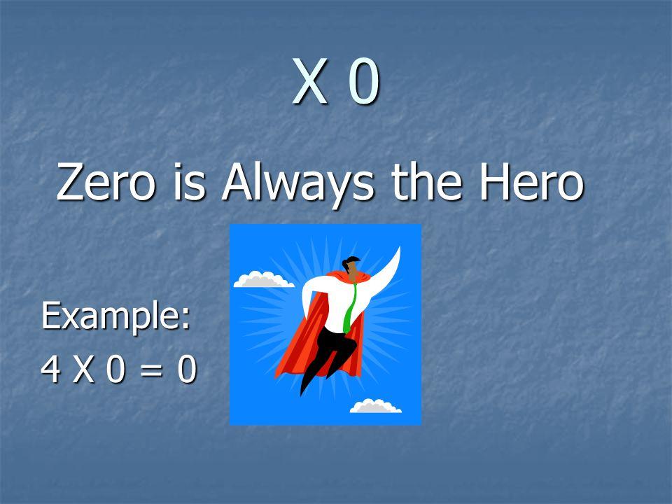 X 0 Zero is Always the Hero Zero is Always the HeroExample: 4 X 0 = 0