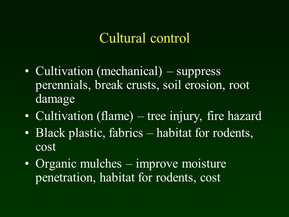 Cultural control Cultivation (mechanical) – suppress perennials, break crusts, soil erosion, root damage Cultivation (flame) – tree injury, fire hazard Black plastic, fabrics – habitat for rodents, cost Organic mulches – improve moisture penetration, habitat for rodents, cost