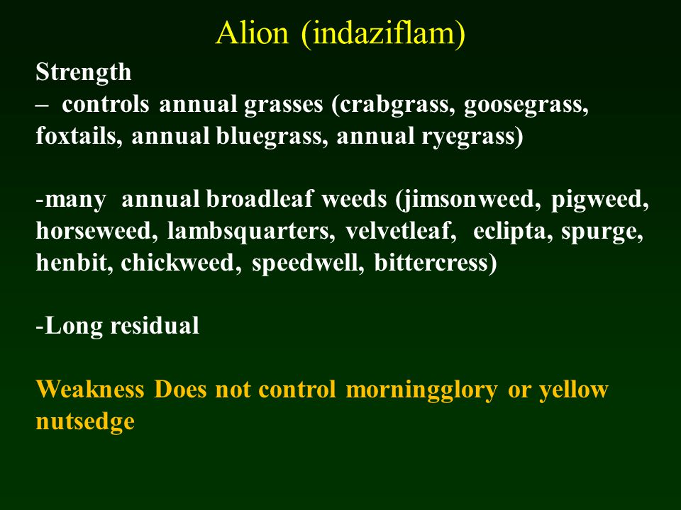 Alion (indaziflam) Strength – controls annual grasses (crabgrass, goosegrass, foxtails, annual bluegrass, annual ryegrass) -many annual broadleaf weeds (jimsonweed, pigweed, horseweed, lambsquarters, velvetleaf, eclipta, spurge, henbit, chickweed, speedwell, bittercress) -Long residual Weakness Does not control morningglory or yellow nutsedge