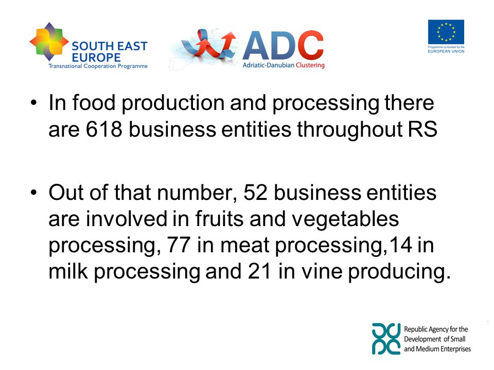 In food production and processing there are 618 business entities throughout RS Out of that number, 52 business entities are involved in fruits and vegetables processing, 77 in meat processing,14 in milk processing and 21 in vine producing.