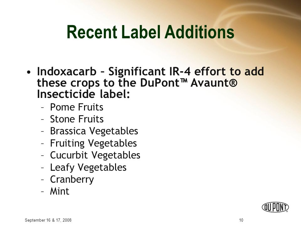 September 16 & 17, 200810 Recent Label Additions Indoxacarb – Significant IR-4 effort to add these crops to the DuPont™ Avaunt® Insecticide label: –Pome Fruits –Stone Fruits –Brassica Vegetables –Fruiting Vegetables –Cucurbit Vegetables –Leafy Vegetables –Cranberry –Mint