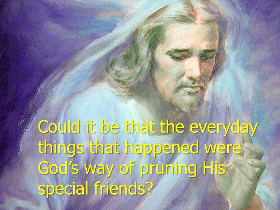 Could it be that the everyday things that happened were God's way of pruning His special friends