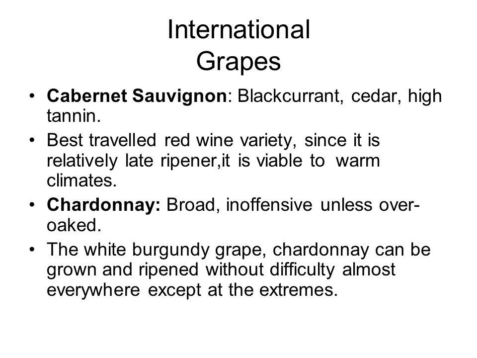 International Grapes Cabernet Sauvignon: Blackcurrant, cedar, high tannin.