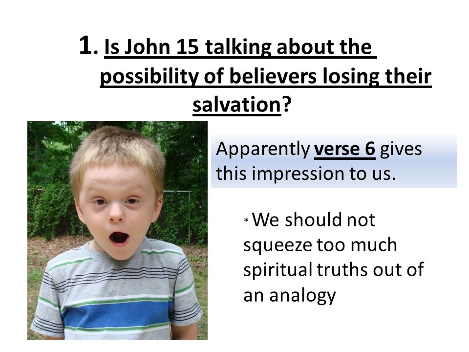 1. Is John 15 talking about the possibility of believers losing their salvation.