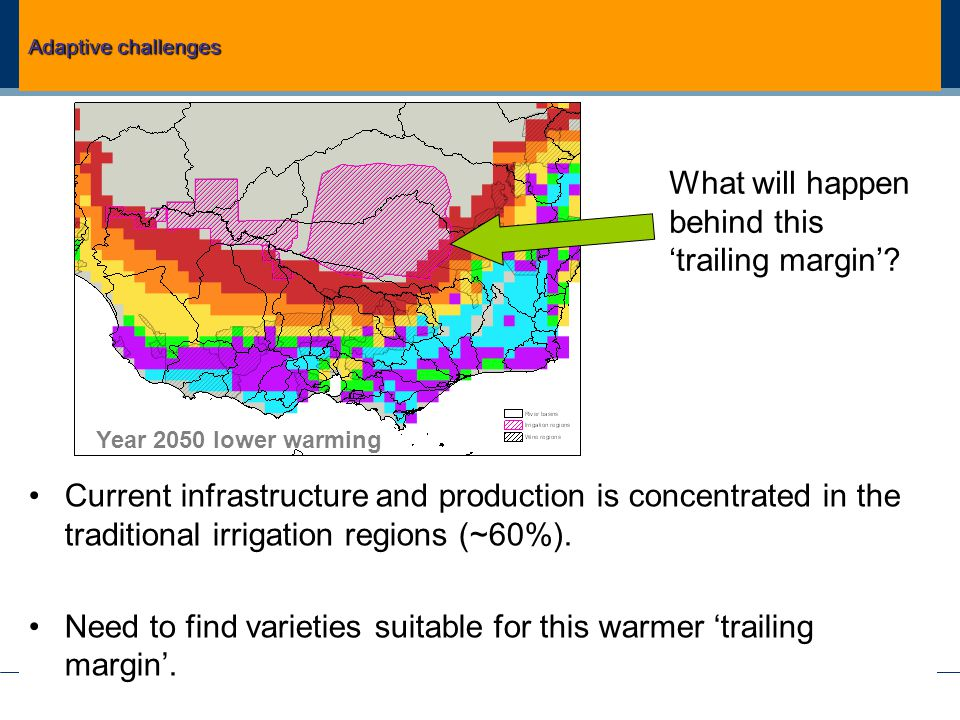 Current infrastructure and production is concentrated in the traditional irrigation regions (~60%).
