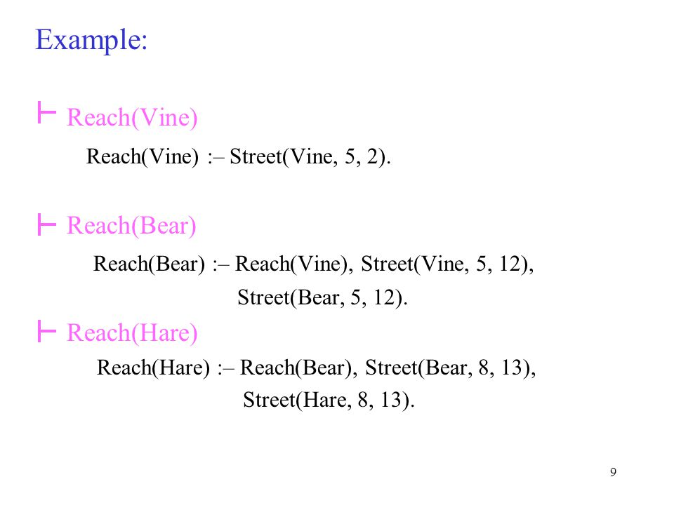 9 Example: Reach(Vine) Reach(Vine) :– Street(Vine, 5, 2).