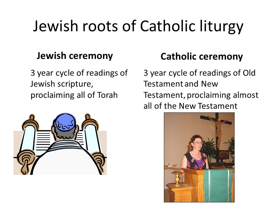 Jewish roots of Catholic liturgy Jewish ceremony 3 year cycle of readings of Jewish scripture, proclaiming all of Torah Catholic ceremony 3 year cycle of readings of Old Testament and New Testament, proclaiming almost all of the New Testament