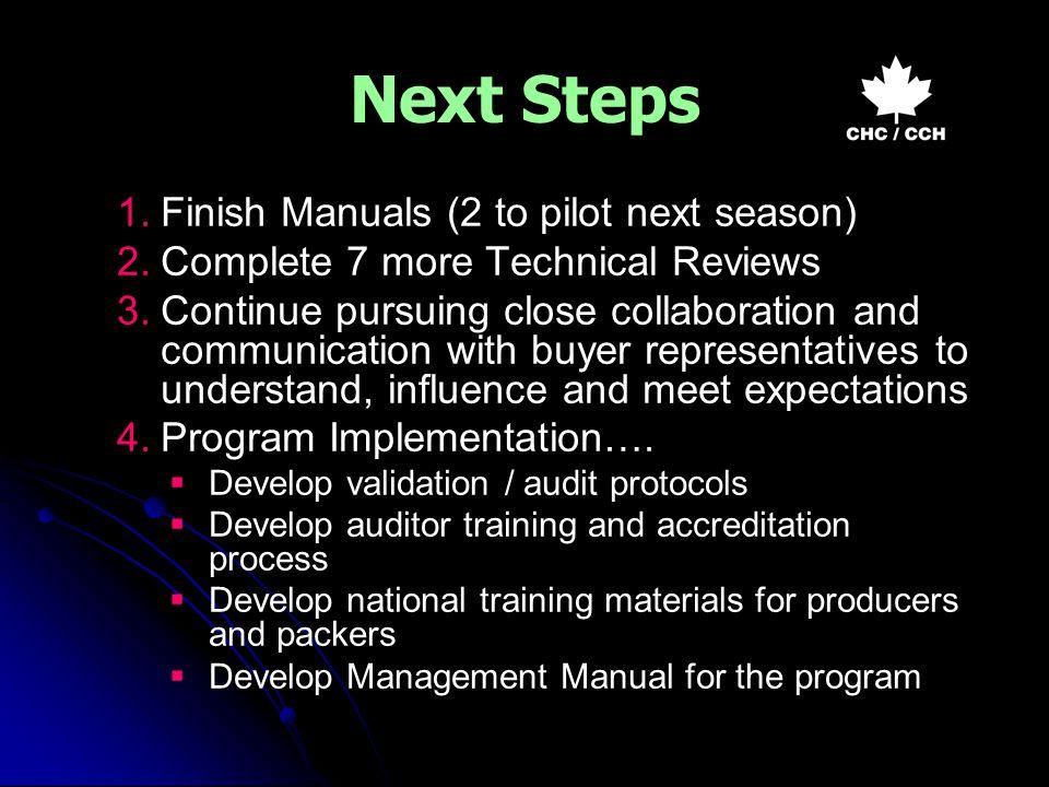 Next Steps 1. 1.Finish Manuals (2 to pilot next season) 2.
