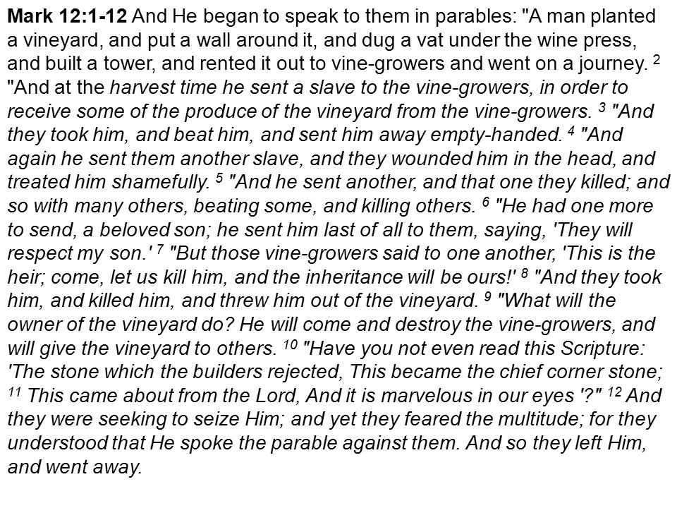 Mark 12:1-12 And He began to speak to them in parables: