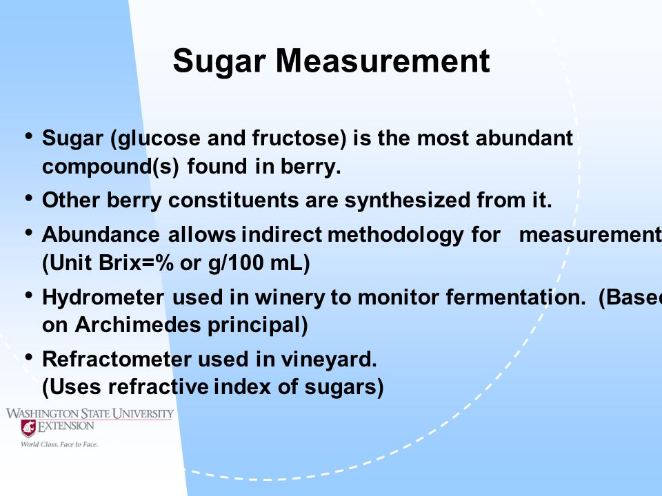 Sugar Measurement Sugar (glucose and fructose) is the most abundant compound(s) found in berry.