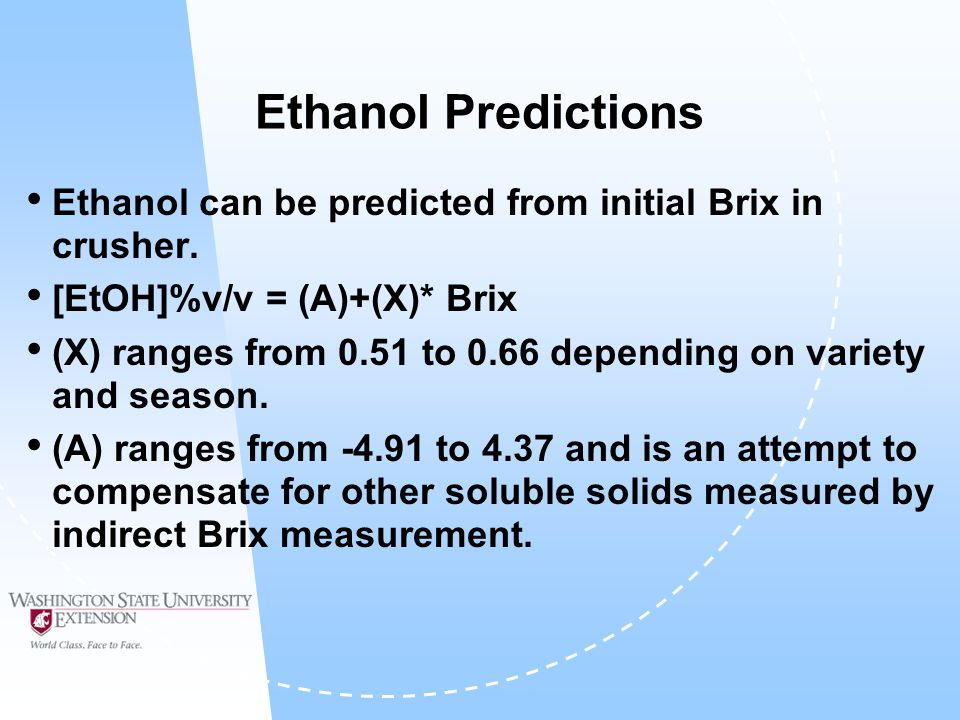 Ethanol Predictions Ethanol can be predicted from initial Brix in crusher.