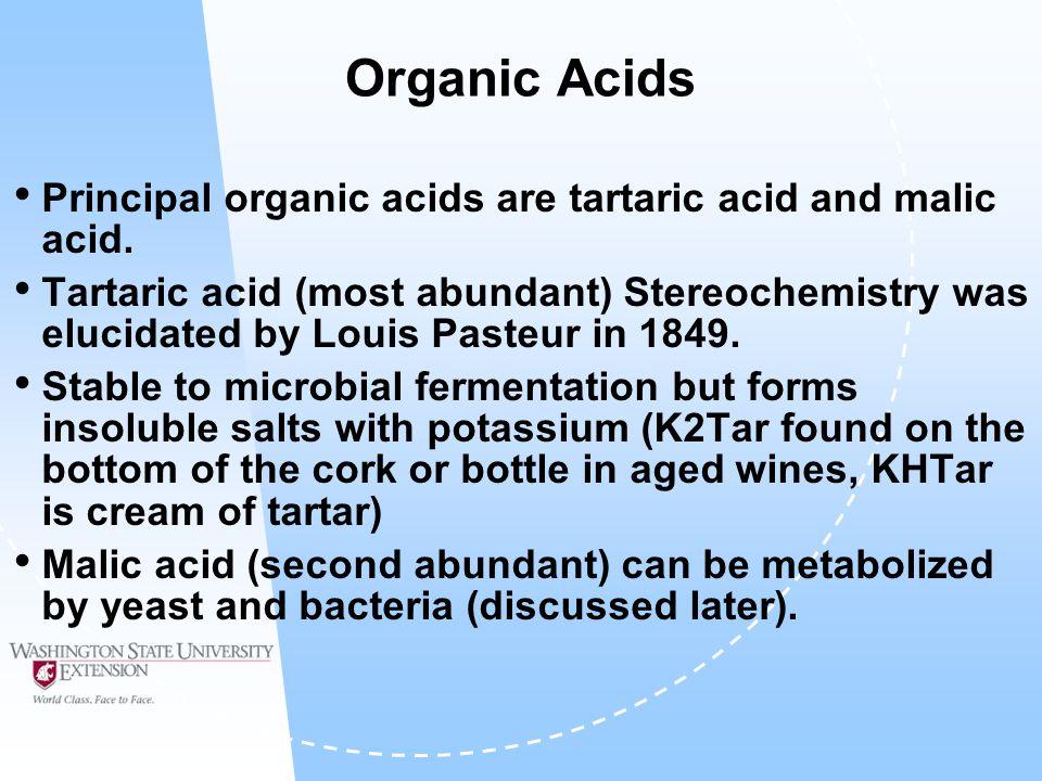 Organic Acids Principal organic acids are tartaric acid and malic acid.