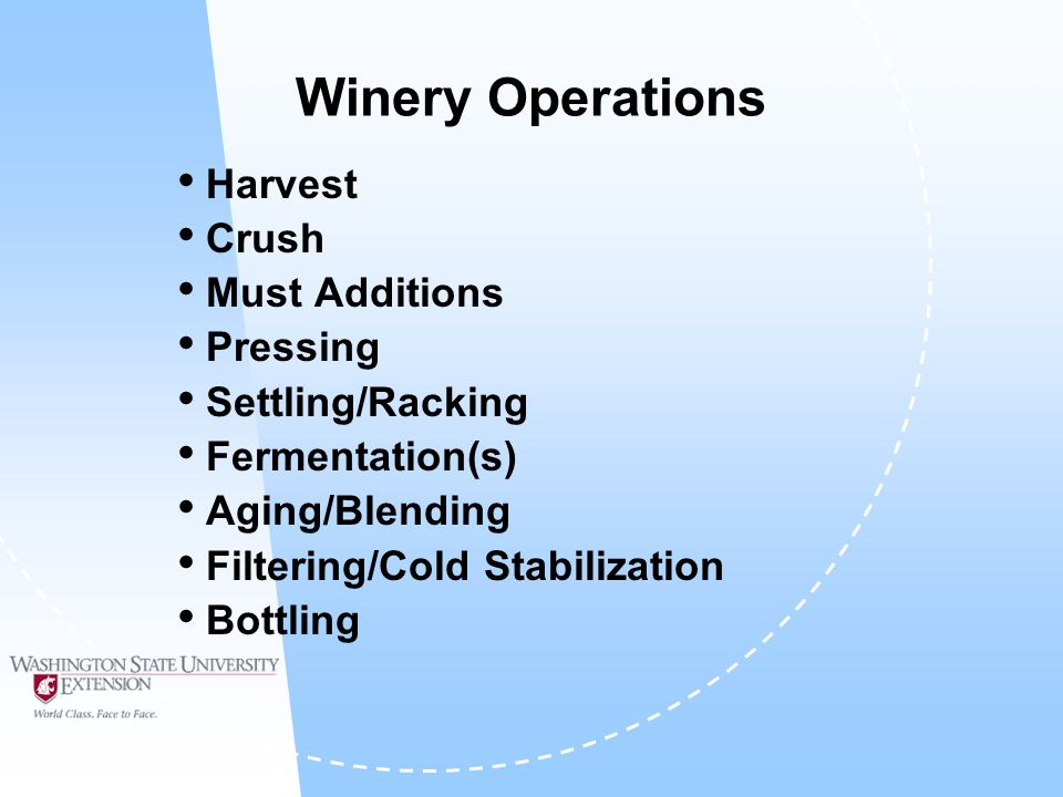 Winery Operations Harvest Crush Must Additions Pressing Settling/Racking Fermentation(s) Aging/Blending Filtering/Cold Stabilization Bottling