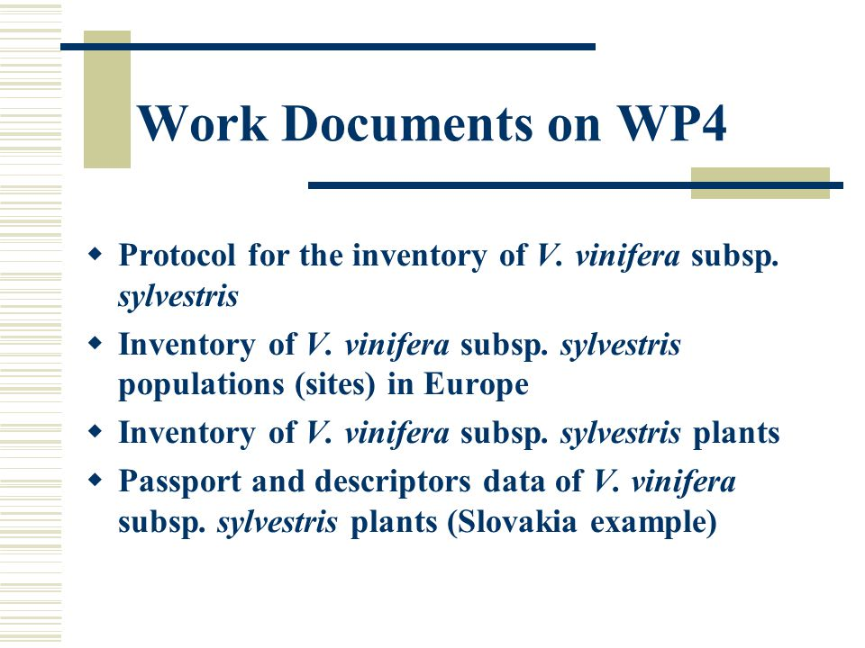 Work Documents on WP4  Protocol for the inventory of V.