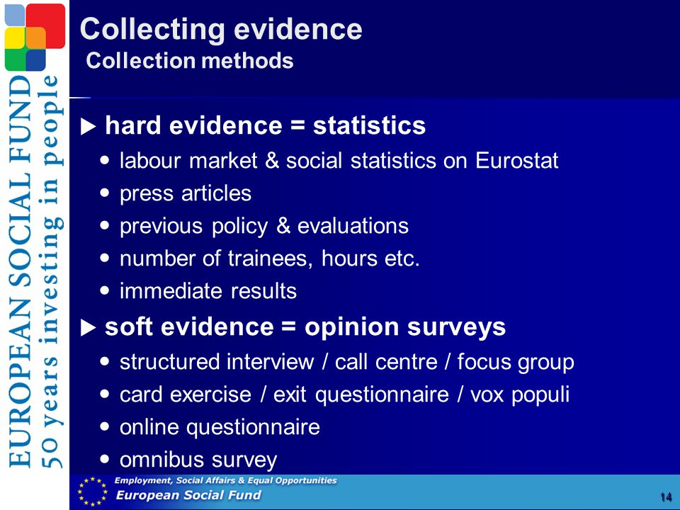 Collecting evidence Collection methods 14  hard evidence = statistics labour market & social statistics on Eurostat press articles previous policy & evaluations number of trainees, hours etc.