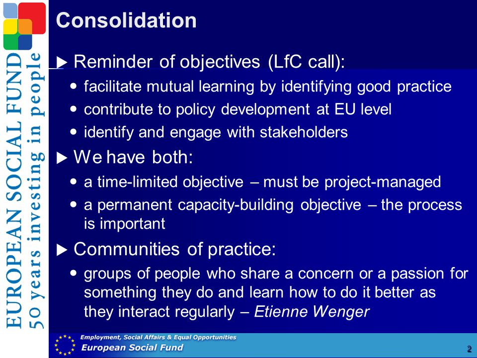 Consolidation 2  Reminder of objectives (LfC call): facilitate mutual learning by identifying good practice contribute to policy development at EU level identify and engage with stakeholders  We have both: a time-limited objective – must be project-managed a permanent capacity-building objective – the process is important  Communities of practice: groups of people who share a concern or a passion for something they do and learn how to do it better as they interact regularly – Etienne Wenger Ruth Santos, Ecotec, 2005