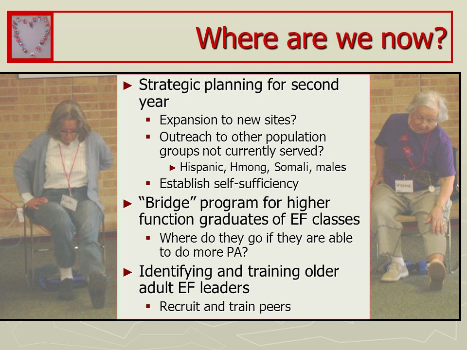 Where are we now. ► Strategic planning for second year  Expansion to new sites.