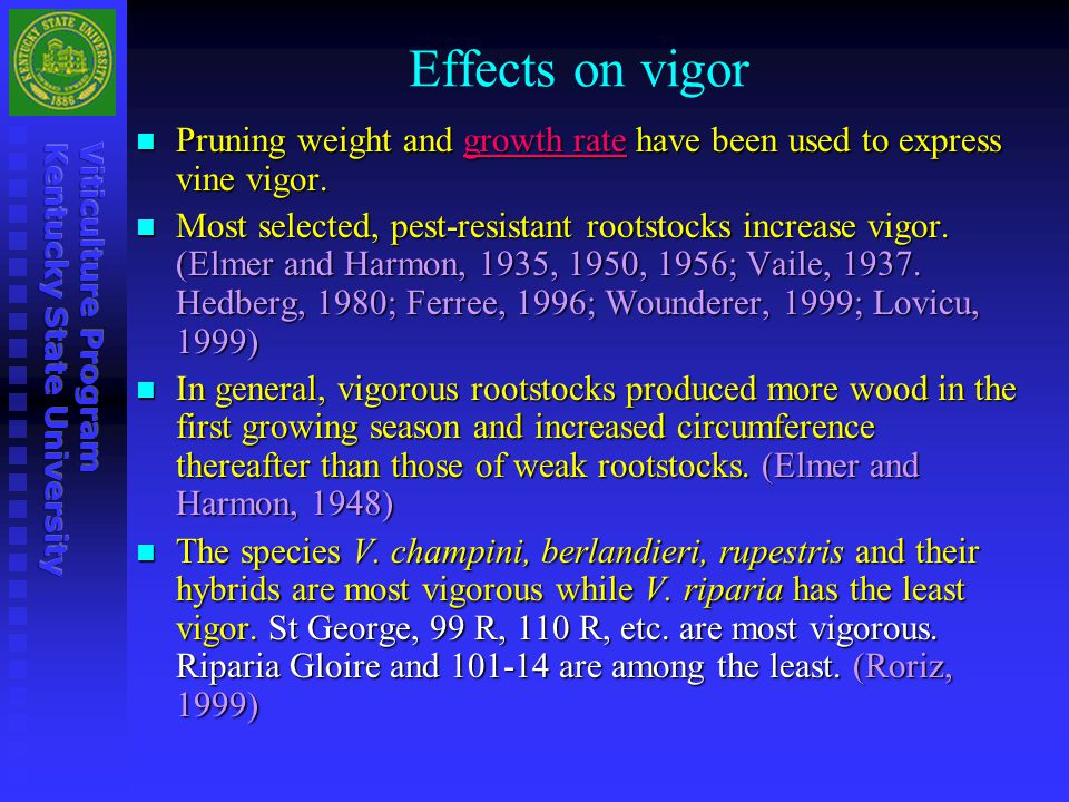 Effects on vigor Pruning weight and growth rate have been used to express vine vigor. Pruning weight and growth rate have been used to express vine vi